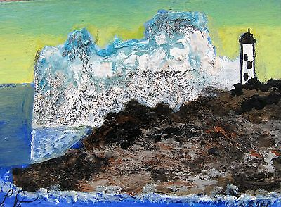 """A490  Original Acrylic Aceo Painting By Ljh  """"Iceburg At Cape Spear"""""""
