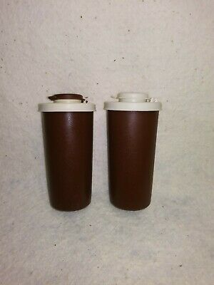 Vintage TUPPERWARE Salt & Pepper Shakers - Brown/Tan - Flip Top Lids #1328/#1329
