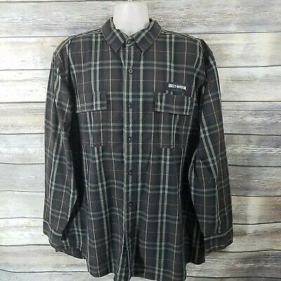 Harley-Davidson Size 2XL Plaid Flannel Button Up Shirt Brown Mens