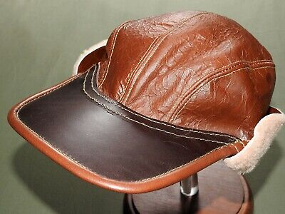 "US Army AAF WW2 EASTMAN B-17 BOMBER ""REDSKIN"" B-2 SHEEPSKIN LEATHER FLIGHT CAP"