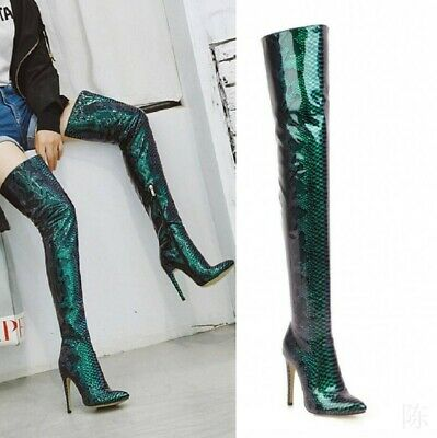 Sexy Women's Stilettos Heel Side Zip Pointy Toe Over Knee Thigh High Boots Shoes