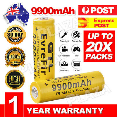 4-12X 18650 9900mAh Li-ion 3.7V Rechargeable Battery for LED Flashlight Torch RC