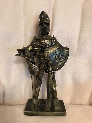 Knight In Armor Candle Holder Gothic Burnished Gold
