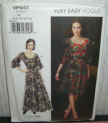 Womens/Misses Very Easy Fitted Dresses Sewing Pattern/Vogue VP940/SZ 6-14/UCN