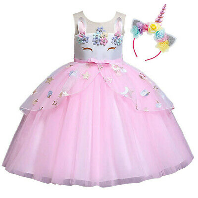 Girls Unicorn Tutu Birthday Party Fancy Outfit Kids Bridesmaid Dress + Headband