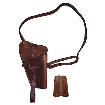 U.S. WWII M3 Brown Leather Shoulder Holster w/Hand Grips - Mid Brown - Repro Jr5