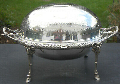 Roll Top Breakfast Dish - James Dixon - Silver Plated Antique