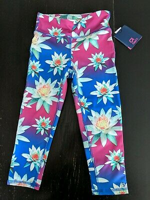 NWT Gap Fit Girl's Flower Capri Length Sport Leggings Medium (8-9)