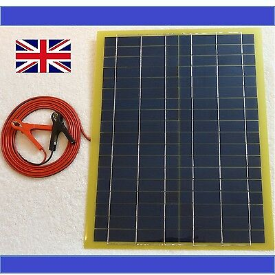 Very Light 20w Solar Panel 12v Battery Charger c/w 4m cable BLOCK Diode & Clips