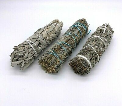 Set of 3: Sage Smudge Stick Bundle Sampler Kit: White, Black, Blue Sage