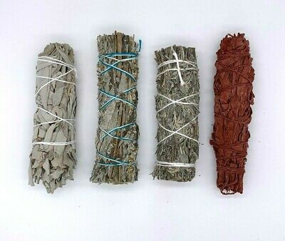 Set of 4: Sage Smudge Stick Bundle Sampler Kit:White, Black, Blue, Dragons Blood
