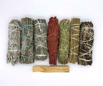 Set of 8: Sage Smudge Stick Bundle Sampler Kit: White, Black, Blue, Red, Palo Sa