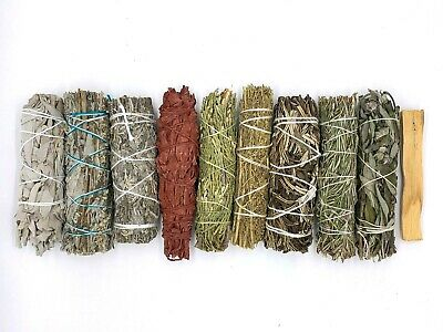 Set of 10: Sage Smudge Sticks Bundle Sampler Kit: White, Black, Blue, Red, Palo