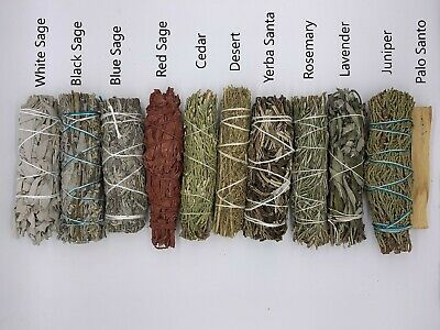 Set of 11: Sage Smudge Sticks Bundle Sampler Kit: White, Black, Blue, Red, Laven