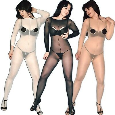 Nylon Full Body Tights Size S Breast Crotchless Bodystocking Catsuit Jumpsuit