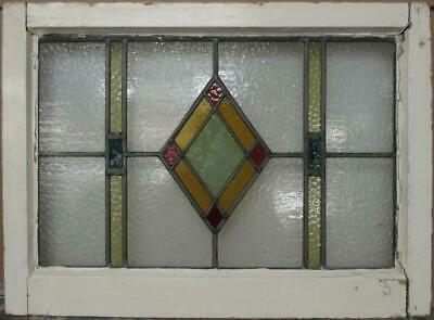 "MIDSIZE OLD ENGLISH LEADED STAINED GLASS WINDOW Gorgeous Diamond 26.5"" x 19.5"""