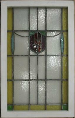 "MIDSIZE OLD ENGLISH LEADED STAINED GLASS WINDOW Colorful Shield 21"" x 33.25"""