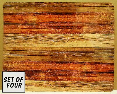 Set Of 4 Mdf/Cork Placemats - Weathered Timber
