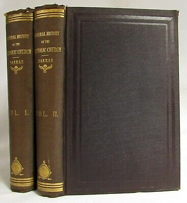 Antique 1865 A GENERAL HISTORY OF THE CATHOLIC CHURCH Darras 2 VOL Christianity