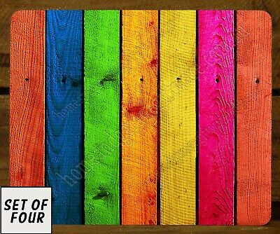 Set Of 4 Mdf/Cork Placemats - Colourful Timber Panelling