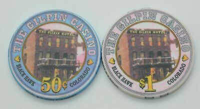 Set of 2 The Gilpin 50¢-$1 Casino Chips Black Hawk Colorado ChipCo.