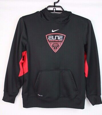 Nike therma fit youth boys basketball pull over hoodie black red size XL