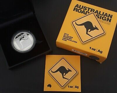 2013 Australia Road Sign Series - Kangaroo Silver (.999) Frosted UNC $1 coin