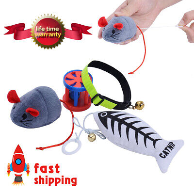 Pet Cat Toys Set Kitten Mouse Catnip Toys Interactive Cat Toy and Collar - Red