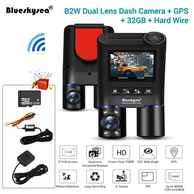 B2W Dual Lens FHD 1080P Wi-Fi GPS Dash Cam Parking Hard Wire +32GB Night Vision