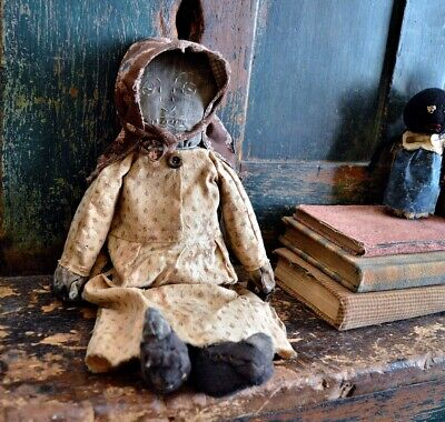 Handmade Primitive Folk Art Black Doll