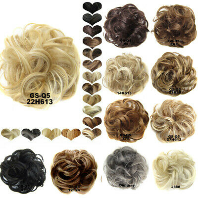 As Real Natural Curly Messy Bun Hair Piece Scrunchie Fake Hair Extension Thick