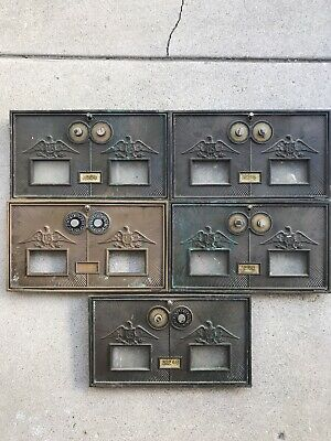 Lot Of 5 Vintage Bronze Brass Post Office Box Doors Double Combination Eagle