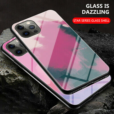For Apple iPhone 11 Pro Max Marble Pattern Tempered Glass Back Phone Case Cover