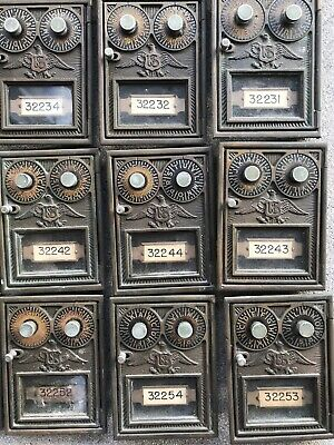 Lot Of 30 Vintage Bronze Brass US Post Office Box Doors Double Combination Eagle