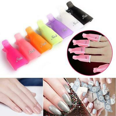 10 Nail Art Toenail Soak Off Clip Cap UV Gel Polish Clamp/Remover Wrap Tool NE