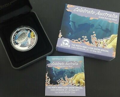 2011 Australia Celebrate: Great Barrier Reef ANDA Show 1oz Silver (.999) $1 coin