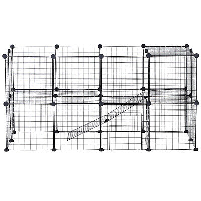 Pawhut DIY Pet Playpen Metal Wire Fence 36 Panel Enclosure Small Animals Cage