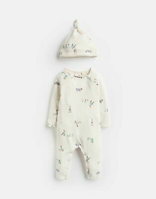 Joules Baby Giggle Supersoft Babygrow And Hat Set in CREAM GARDEN PETER RABBIT