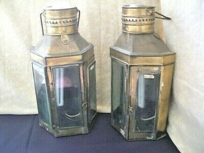 "Vintage PAIR of Brass Outdoor Wall Lanterns~ Pre-loved~ 16"" H"