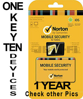 Norton Mobile Security 2019 1 Year for 10 Multiple iOS & Android Devices Global