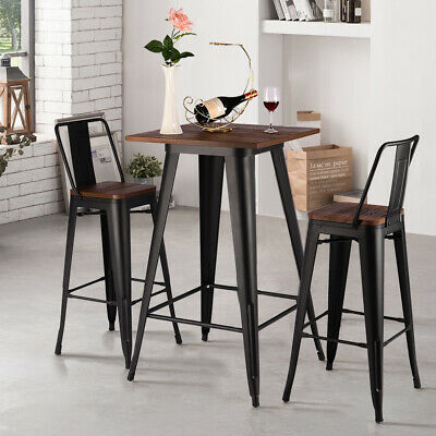 Wooden Industrial Metal Bar Stools and Table Set Breakfast Kitchen Bistro Cafe