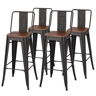 2/4x Wooden Bar Stool Vintage Kitchen Bistro Pub Barstool Metal Industrial Style