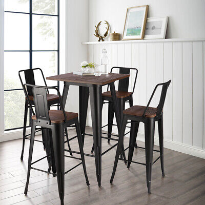 Industrial Metal Bar Table and 2/4 Stool Chairs Breakfast Kitchen Bistro Cafe