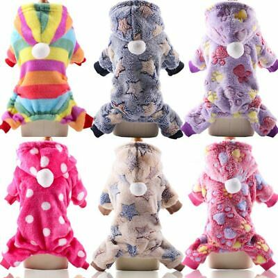 Dog Puppy Pet Jumpsuit Fleece Outfits Soft Winter Clothes Coat Sweater Hoodie