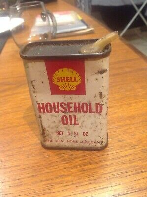 Shell Household Oil 4 FL OZ TIN. Rustic Condition.