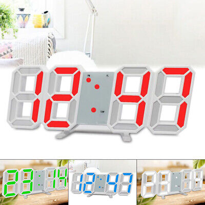 Digital 3D LED Wall/Desk Clock Snooze Alarm Big Digits Auto Brightness Clock