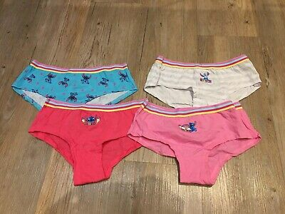 9-10 Years Girls Lilo Stitch Briefs Knickers 4 Pairs Disney Pink Shorts