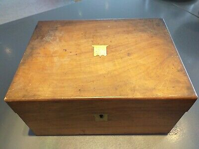ANTIQUE WALNUT wood VICTORIAN writing slope WOODEN BOX brass trim FOR REPAIR