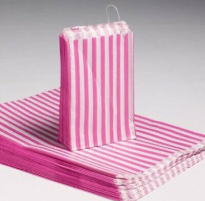 100 X  7 x 9 inch Retro Candy Stripe Paper Bags Sweets Wedding Favours Gifts