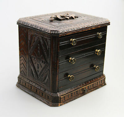 Antique Treen Black Forest Miniature Apprentice Piece carved Chest C.19thC